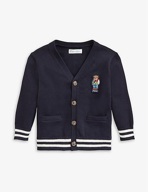 RALPH LAUREN: Bear-embroidered cotton cardigan 3-24 months