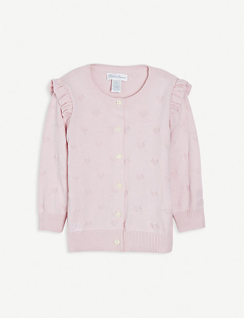 RALPH LAUREN: Logo-embroidered cotton cardigan 3-24 months