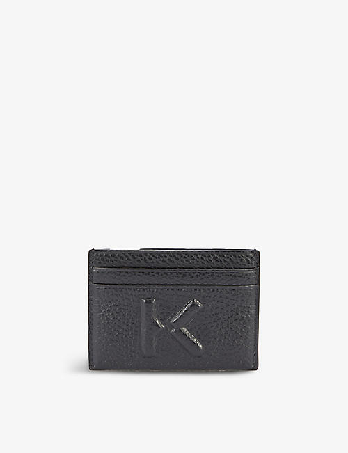 KENZO: Brand-embossed grained-leather card holder