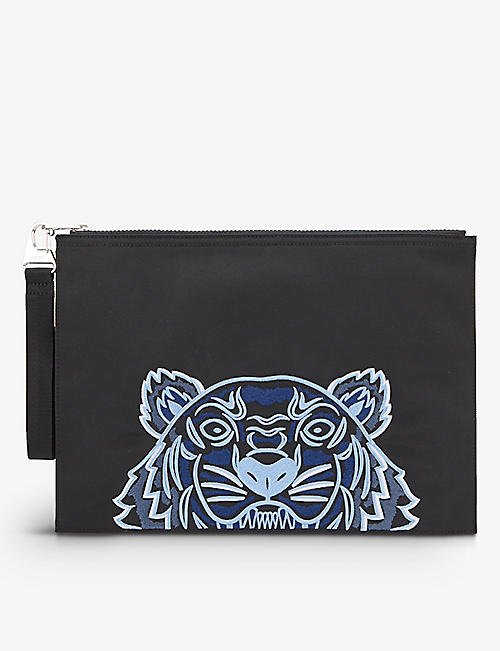 KENZO: Tiger graphic-embroidered woven document holder