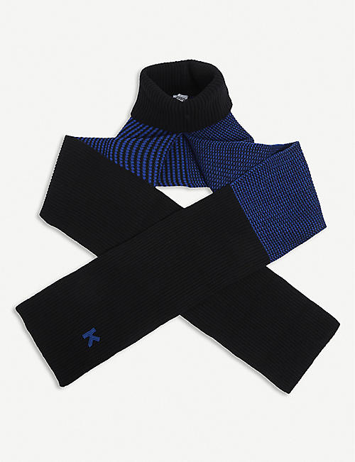 KENZO: Ribbed roll-neck wool scarf
