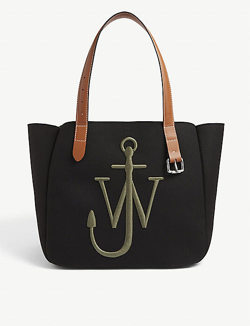 JW ANDERSON: Belt logo-embroidered woven tote bag