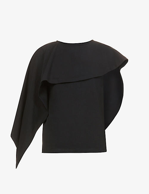 JW ANDERSON: Draped scoop-neck cotton-jersey T-shirt