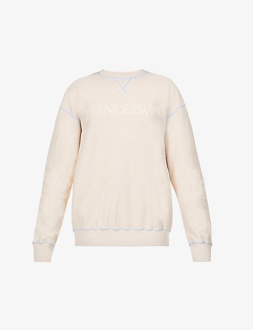 JW ANDERSON: Brand-embroidered relaxed-fit cotton-jersey sweatshirt