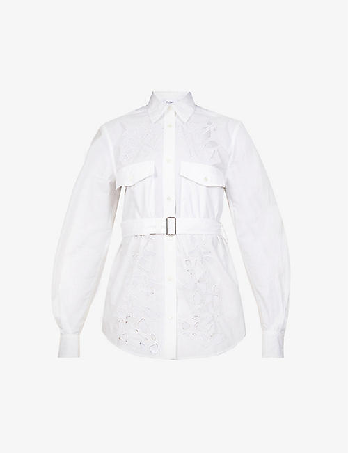 JW ANDERSON: Embroidered-cutout long-sleeved cotton-poplin shirt