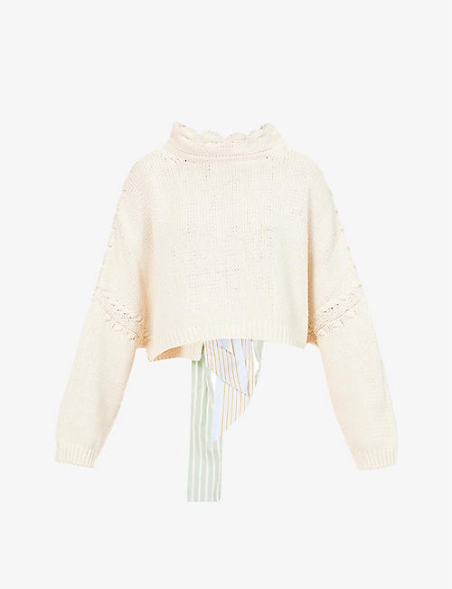 JW ANDERSON: Scallop-trimmed linen and cotton-blend jumper