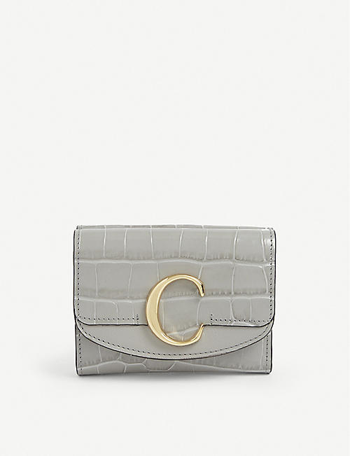 CHLOE: Logo-embellished croc-embossed leather purse