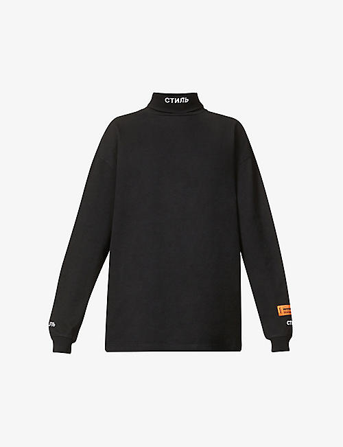 HERON PRESTON: Logo-embroidered turtleneck cotton sweatshirt
