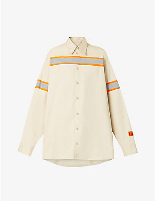 HERON PRESTON: Reflective panel-trimmed cotton-twill shirt