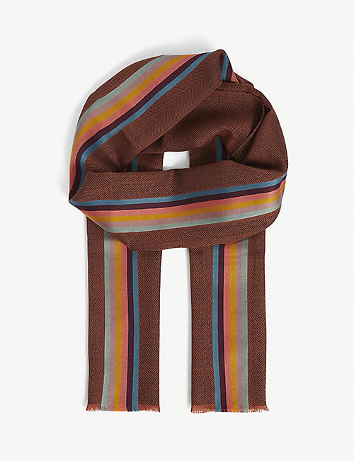PAUL SMITH: Striped wool and silk-blend scarf