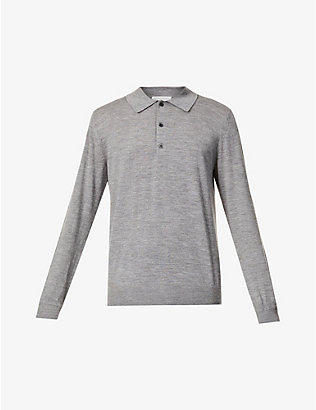 TIGER OF SWEDEN: Fine-knit merino wool polo jumper