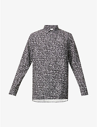 TIGER OF SWEDEN: Abstract graphic-print woven shirt