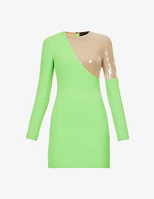 DAVID KOMA: Sequin-embellished crepe mini dress
