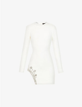 DAVID KOMA: Crystal-embellished stretch-crepe mini dress