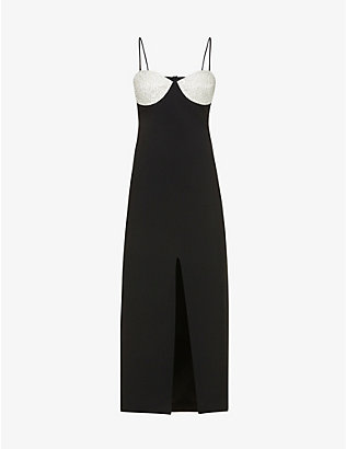 DAVID KOMA: Embellished crepe midi dress
