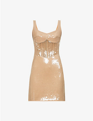 DAVID KOMA: Corset sequinned mini dress