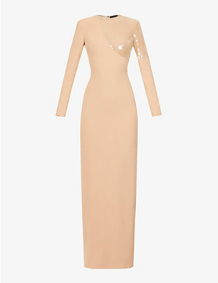 DAVID KOMA: Sequin-embellished stretch-crepe gown