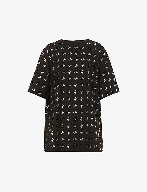 DAVID KOMA: Logo crystal-embellished oversized cotton-jersey T-shirt