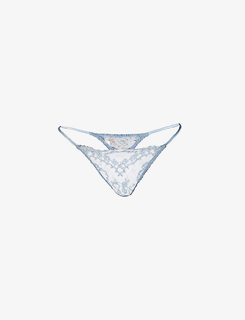 COCO DE MER: Lucida mid-rise silk and stretch-lace thong
