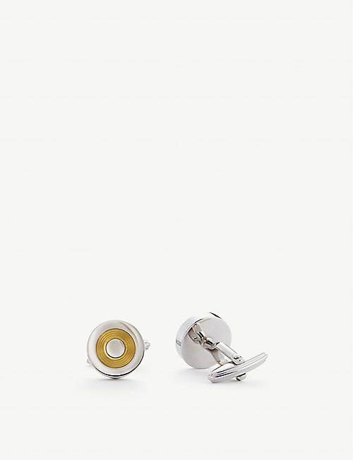 LANVIN: Circular gold-plated and rhodium-plated cufflinks