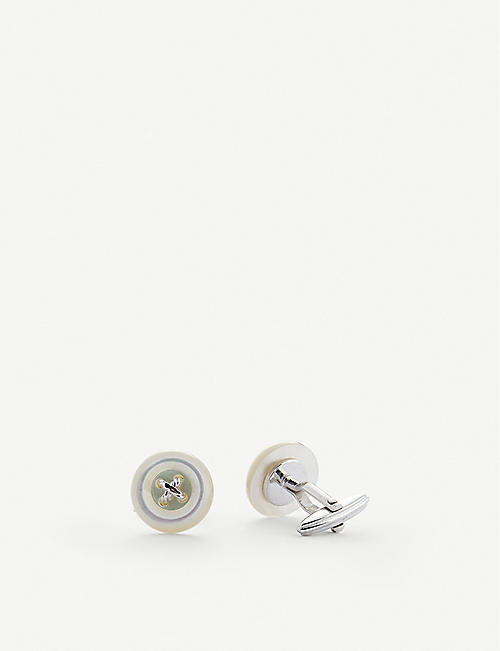 LANVIN: Button mother-of-pearl and rhodium-plated cufflinks