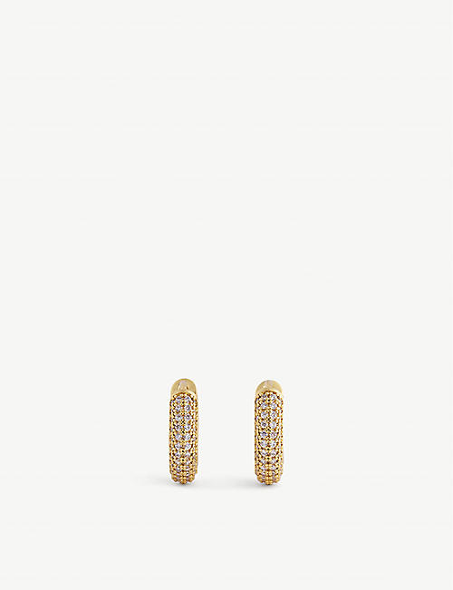 KATE SPADE NEW YORK: Miniature gold-tone and zirconia huggie earrings