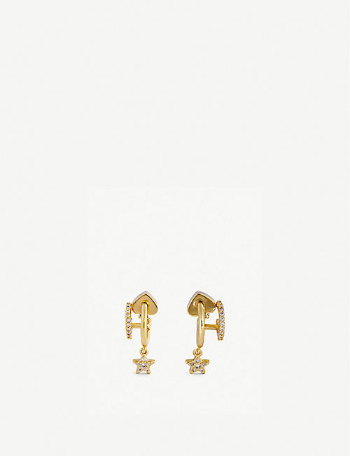 KATE SPADE NEW YORK: Star huggies cubic zirconia earrings