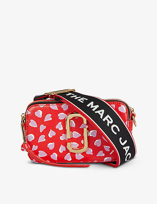 MARC JACOBS: Snapshot heart-print leather cross-body bag