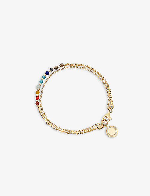 ASTLEY CLARKE: Rainbow Cosmos Biography 18ct yellow-gold plated vermeil sterling silver and gemstones bracelet