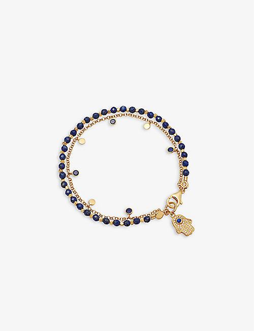 ASTLEY CLARKE: Lapis Hamsa Droplet 18ct yellow-gold plated vermeil sterling silver and lapis lazuli bracelet