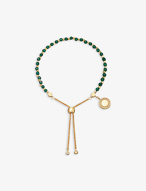 ASTLEY CLARKE: Cosmos Kula 18ct yellow-gold plated vermeil sterling silver and green onyx bracelet