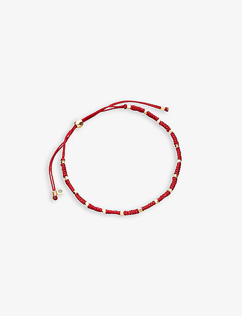 ASTLEY CLARKE: Protection Skinny Biography silk and 18ct yellow-gold vermeil sterling silver bracelet