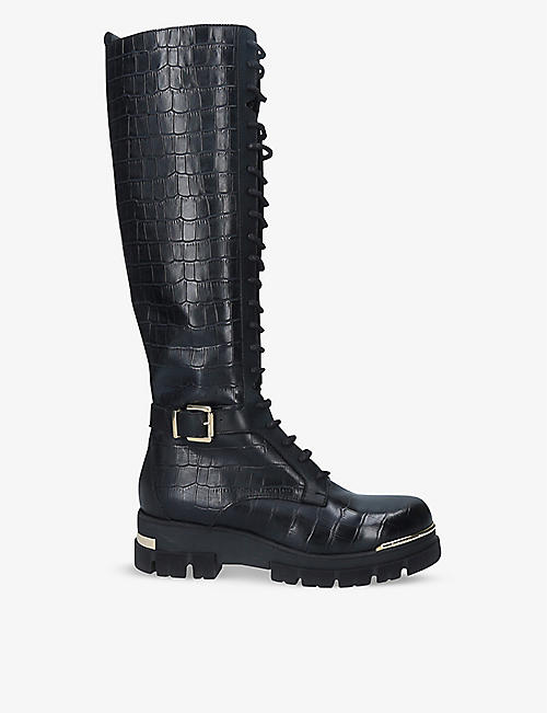 CARVELA: Stash High crocodile-embossed leather knee-high boots