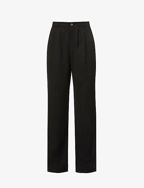 REFORMATION: Mason wide-leg high-rise crepe trousers