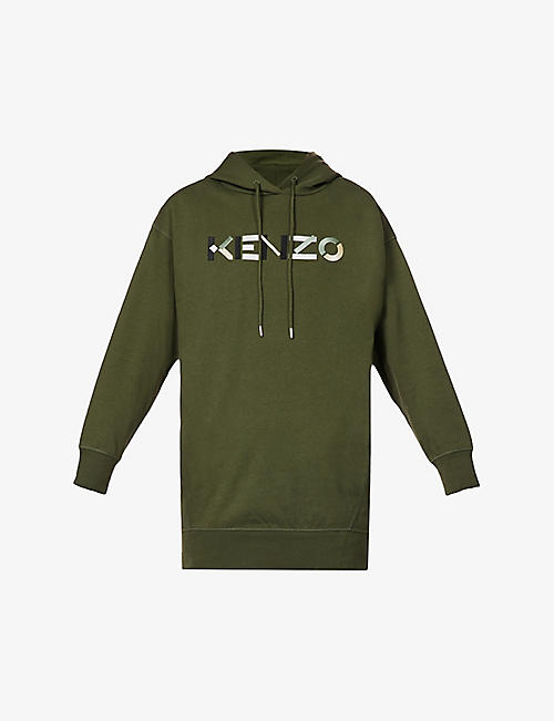 KENZO: Logo-print cotton-jersey mini hoody dress