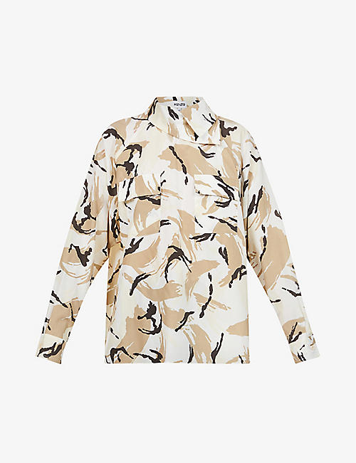 KENZO: Camouflage-print cotton and silk-bend shirt