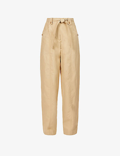 KENZO: Tapered-leg high-rise cotton-poplin trousers