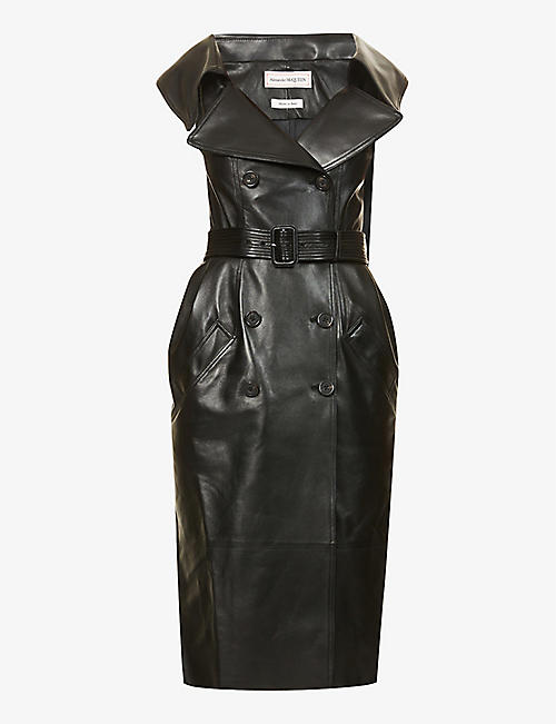 ALEXANDER MCQUEEN: Double-breasted leather midi dress