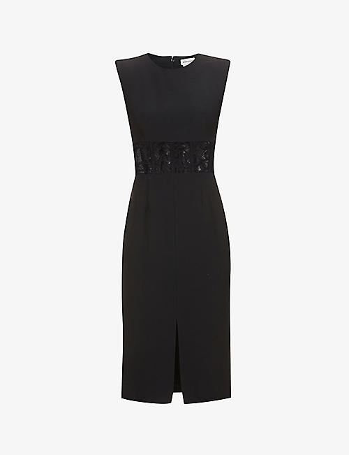 ALEXANDER MCQUEEN: Lace-panel crepe midi dress