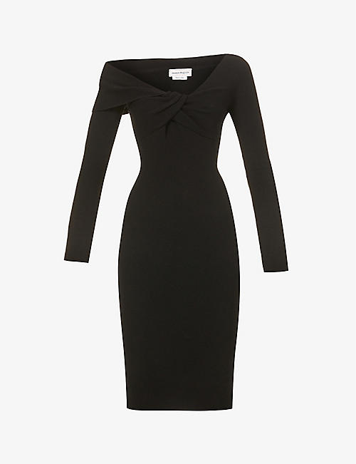 ALEXANDER MCQUEEN: Twist-knot front wool midi dress