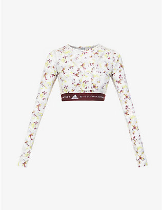 ADIDAS BY STELLA MCCARTNEY: Floral-print stretch-jersey crop top