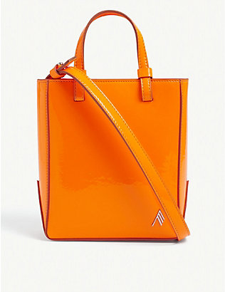 ATTICO: Branded mini patent leather shopper bag