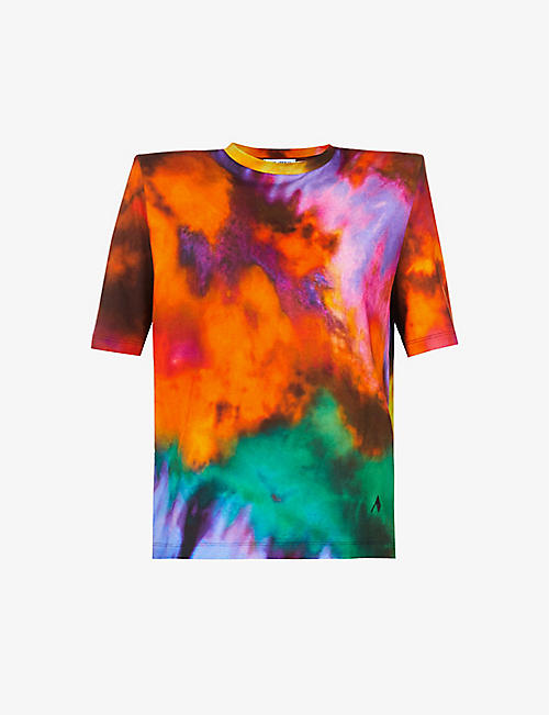 ATTICO: Tie-dye padded-shoulder cotton T-shirt
