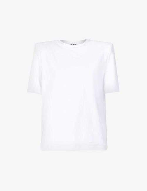 ATTICO: Padded-shoulder cotton T-shirt