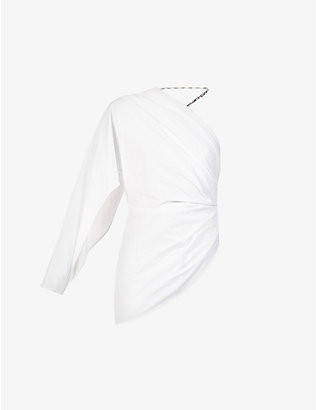 ATTICO: Asymmetric one-sleeved cotton top