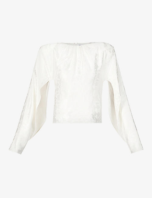 ATTICO: Twisted sleeve crepe blouse