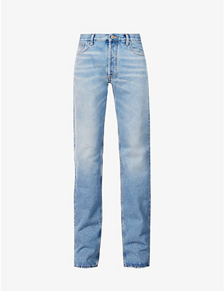 ATTICO: Faded straight-leg high-rise jeans