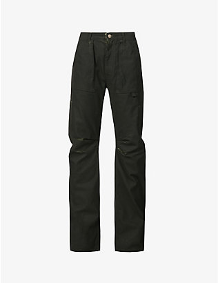 ATTICO: Faded straight-leg high-rise cotton cargo trousers