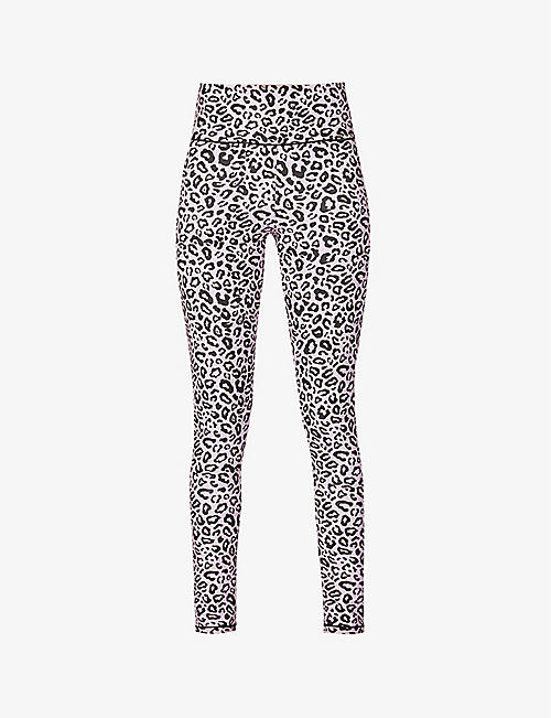 REDEMPTION ATHLETIX: Leopard-print high-rise recycled polyamide-blend leggings