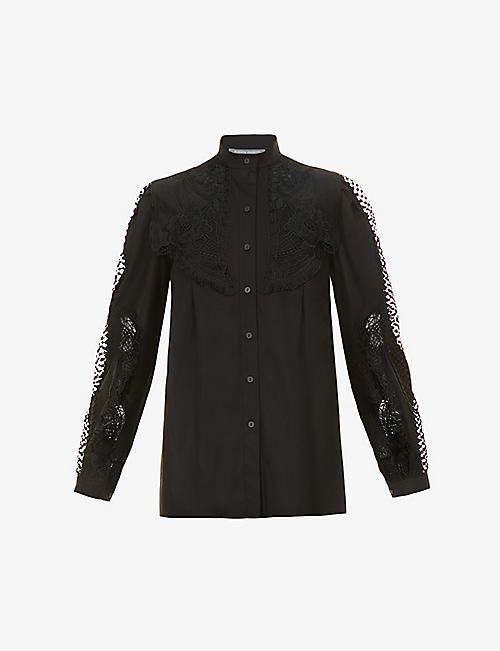 ALBERTA FERRETTI: Floral-embroidered crochet-panel stretch-cotton shirt